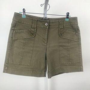 CAbi: Olive Cargo Shorts, Size 8